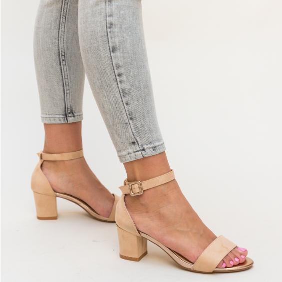 Sandale bej de femei de vara cu toc mic comode ieftine