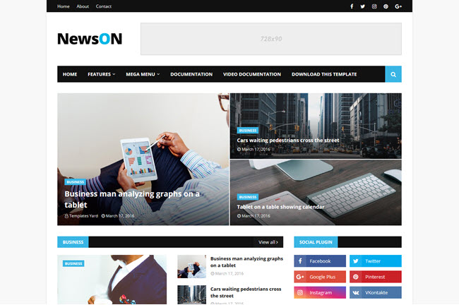 NewsOn - Responsive Magazine Blogger Template