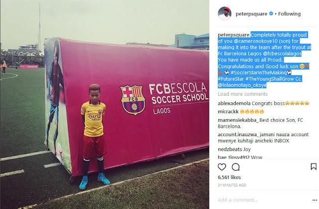 Peter Okoye's Son, Cameron Makes Barcelona Team In Lagos (Photo)