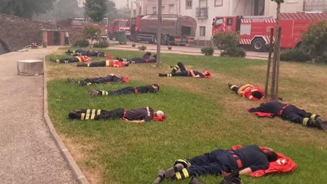 Bomberos portugueses se vuelven virales al combatir incendio