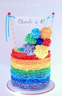 Rainbow Ruffled Cake