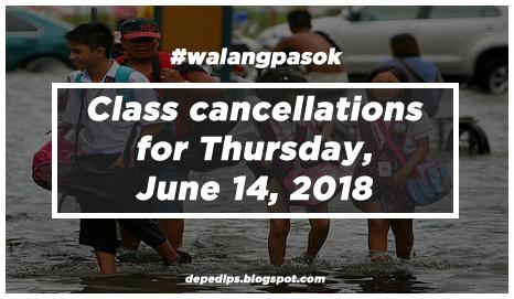 #walangpasok: Class cancellations for Thursday, June 14, 2018