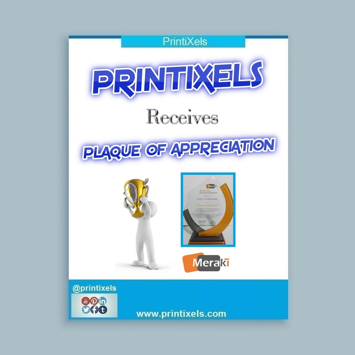 Printixels Receives Plaque of Appreciation
