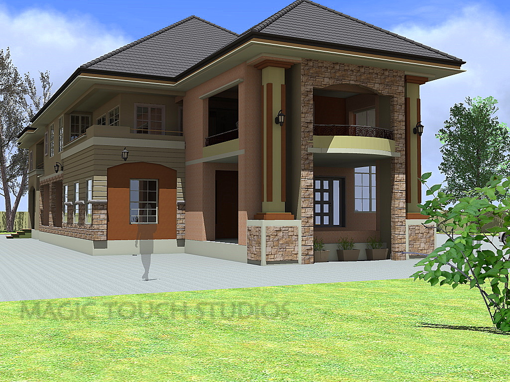 Residential House Floor Plan 4 Bedroom Duplex With Attached Two Bedroom Flat Modern