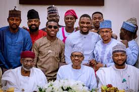 President Buhari with entertainers