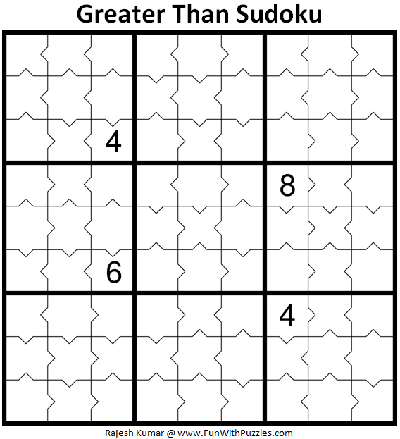 Greater Than Sudoku Puzzle (Fun With Sudoku #371)