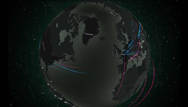 Plataforma online mostra ataques hacker no mundo em tempo real.