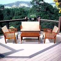 Carolina 4pc Outdoor Eucalyptus Sofa Set