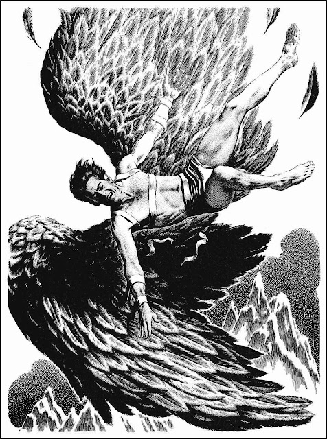Virgil Finlay illustration of Icarus falling