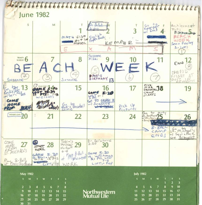 1985 Calendar.June 1985 Calendar A Murti Schofield