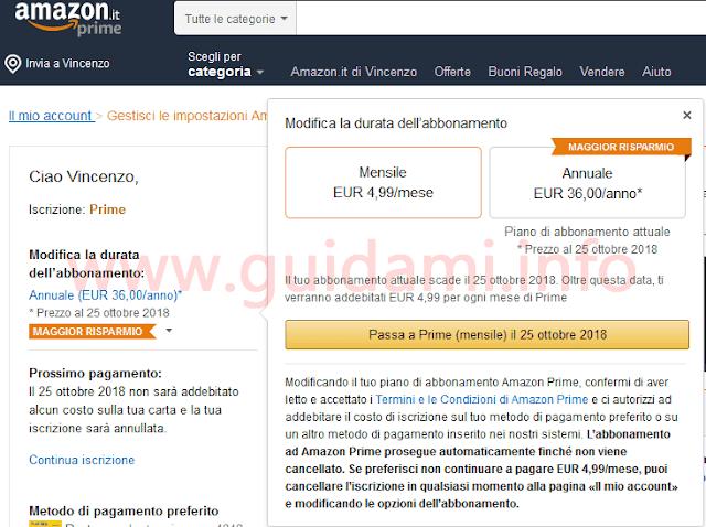 Amazon pagina web gestione abbonamento Prime