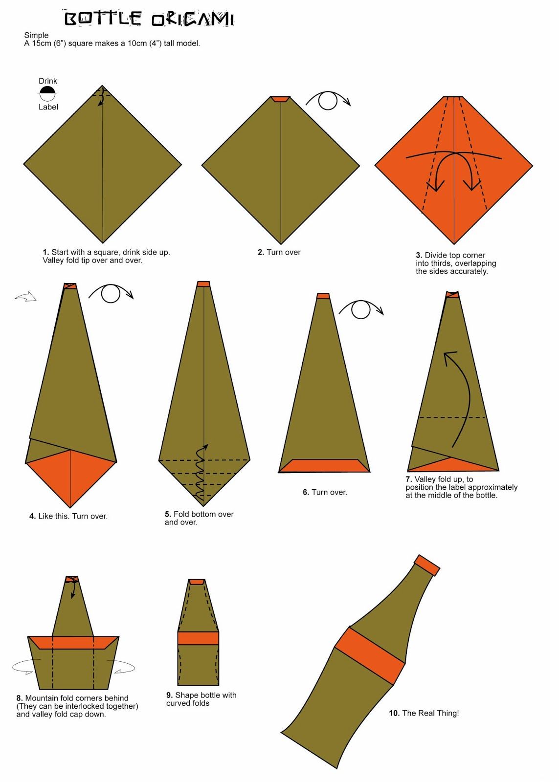 Bottle    Origami    Folding    Diagram      Paper    Origami    Guide