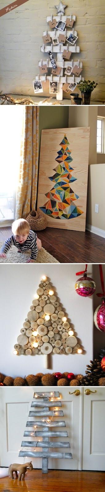 Árvores de natal criativa de parede - inspirações com diversos materiais