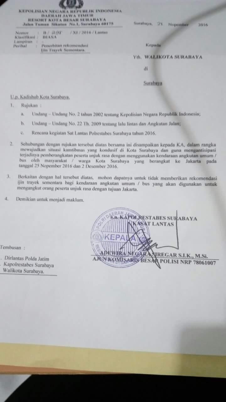 Antisipasi 212, Polres Surabaya Minta Dishub Tak Keluarkan Izin Trayek ke Jakarta? : Berita Terhangat Hari Ini