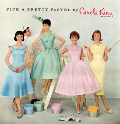 Advertisement with models wearing Carol King Dresses in assorted styles and colors