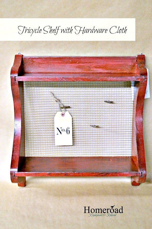Chippy red farmhouse shelving with photo display