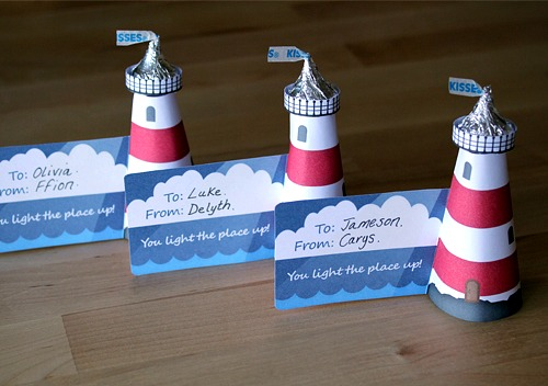DIY Mini Lighthouses Hershey Kisses Favor