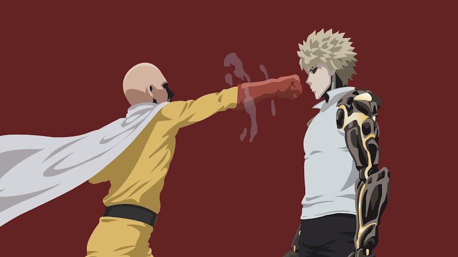Saitama And Genos One Punch Man Minimalist 4k Wallpaper 98