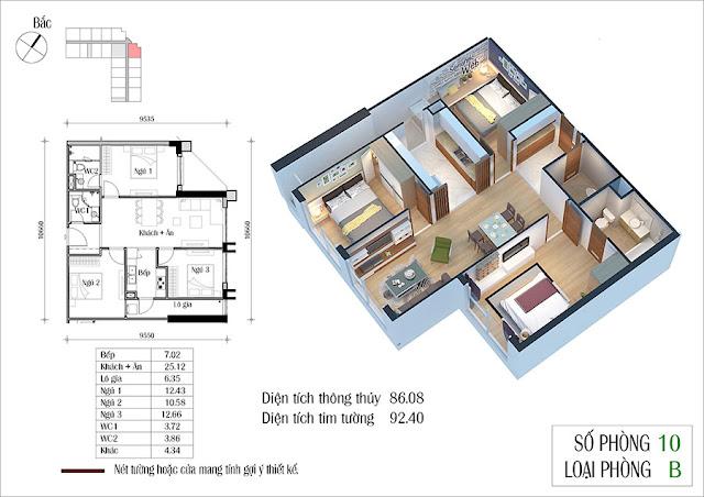 Thiết kế căn hộ số 10 tòa CT2 Eco Green City
