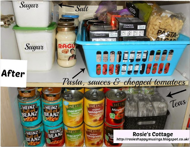 Organized pantry top shelves after