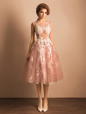 Boutique Ball Gown Scoop Neck Tulle with Appliques Lace Tea-length Prom Dresses