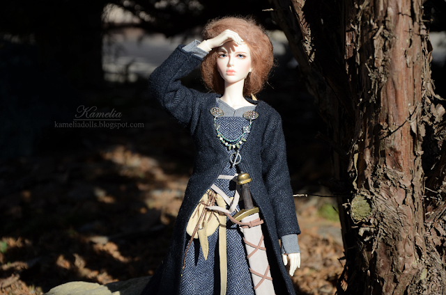 Daisy Raccoon doll in Viking outfit