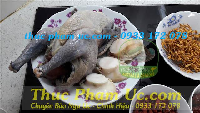 gà ác nấu với canh bào ngư