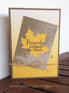 """Stampin' Up! Karte mit dem Kartenset Erinnerungen und mehr """"Farbenspiel"""", Thinlits """"aus jeder Jahreszeit"""" und stempelset """"jahr voller Farben"""" Freunde, Herbst"""