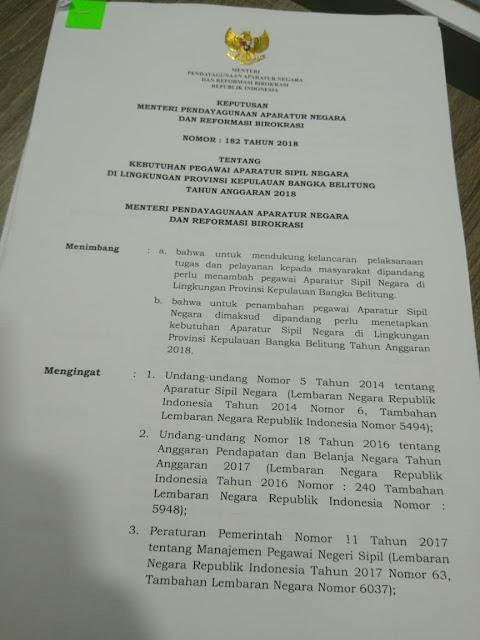 gambar keputusan menpan rb nomor 182 tahun 2018 tentang formasi cpns bangka belitung