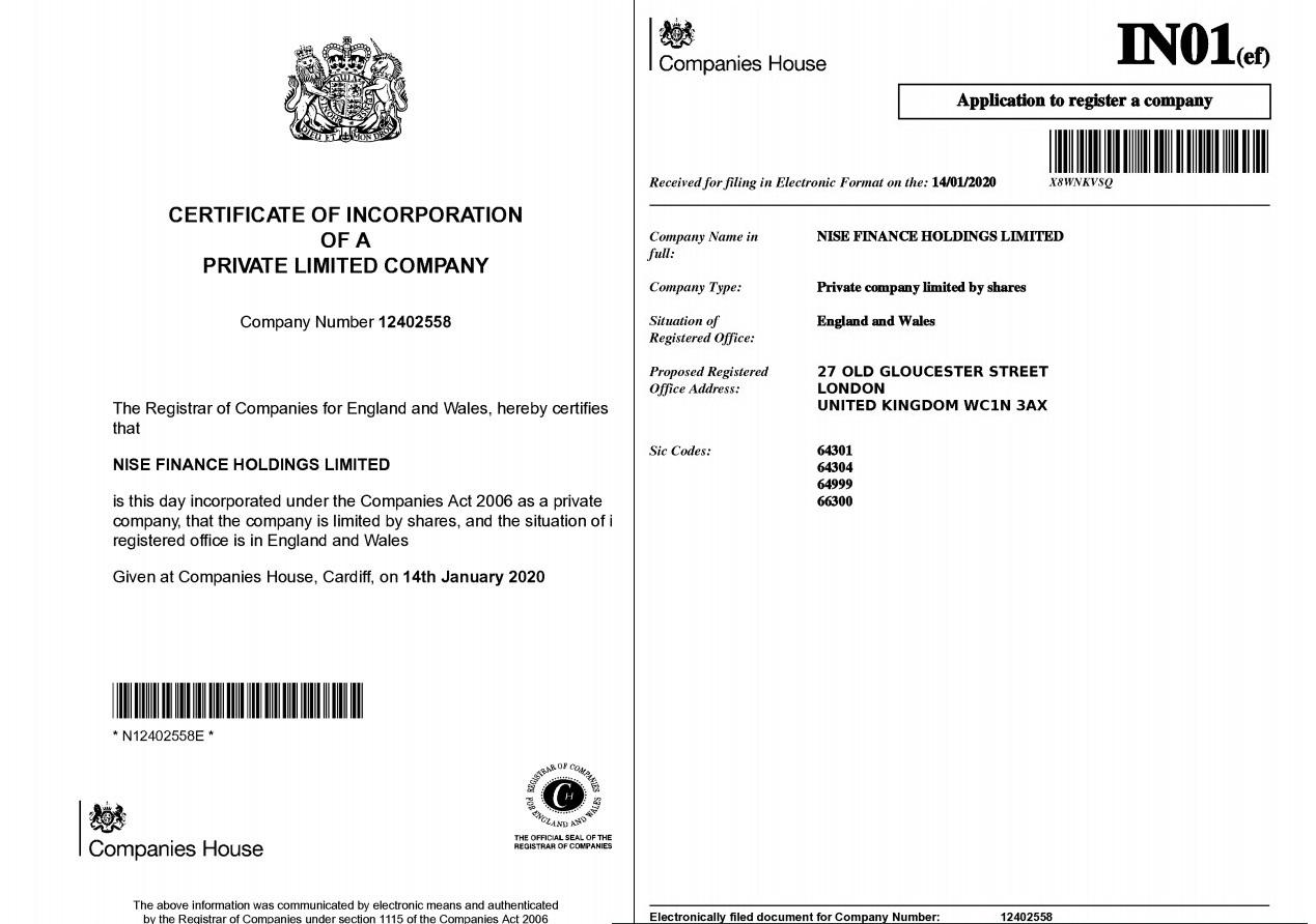 NISEBANK được cấp phép bởi Companies House - Cục quản lý công ty của Vương Quốc Anh & Bắc Ireland