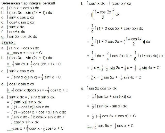 contoh soal integral fungsi trigonometri dan penyelesaiannya