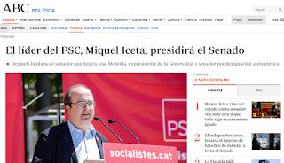 """Captura de Abc con titular """"El líder del PSC, Miquel Iceta, presidirá el Senado"""""""
