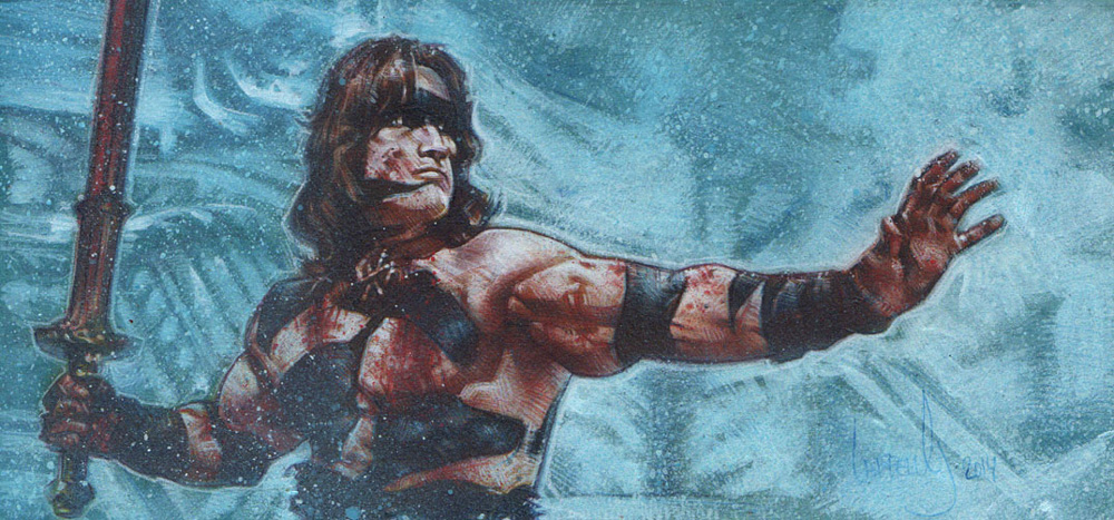 Arnold Schwarzenegger as Conan,  Original Artwork Copyright © 2013 Jeff Lafferty