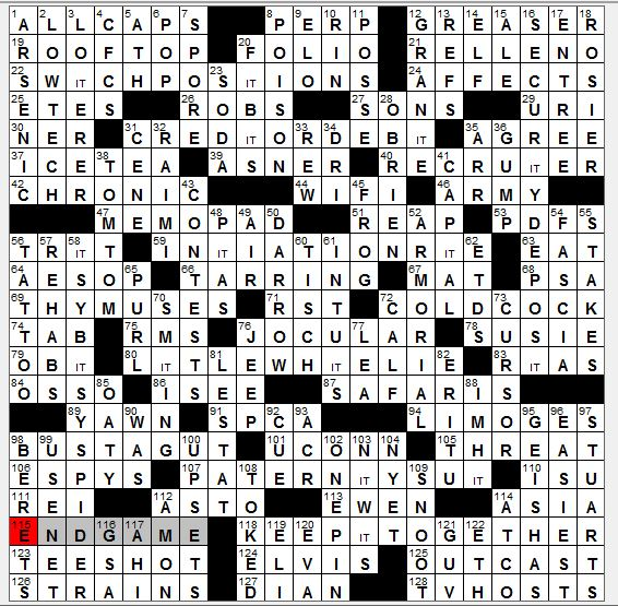 Rex parker does the nyt crossword puzzle july 2016 sunday july 31 2016 ccuart Images