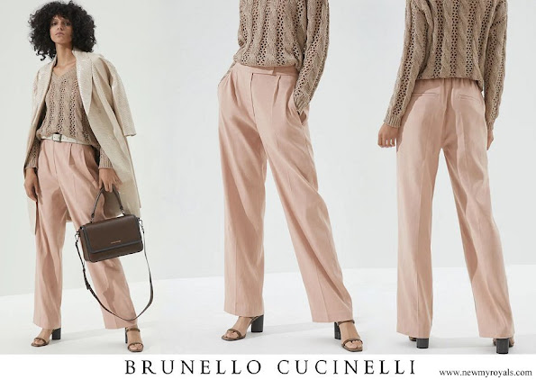 Princess Charlene wore Brunello Cucinelli comfort linen and cotton drill palazzo trousers