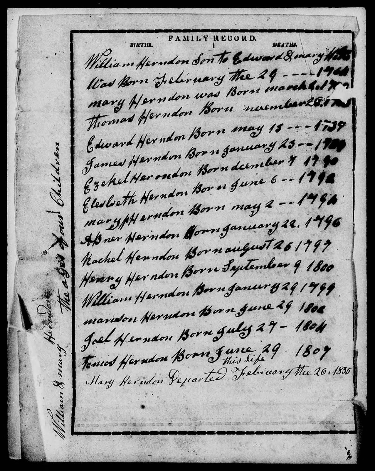 From Herndon Family Bible in William Pendleton Herndon's pension application http://jollettetc.blogspot.com