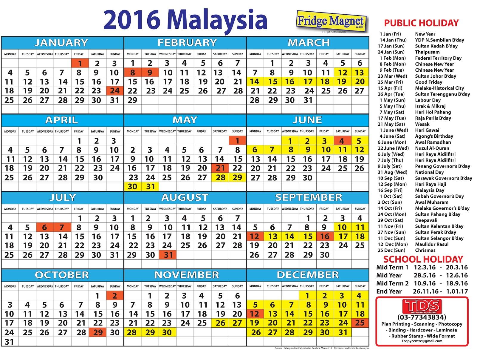 Calendar With Holidays Malaysia