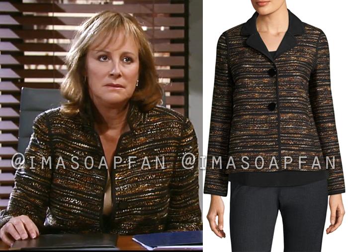 Nora Buchanan, Hillary B. Smith, Black and Brown Tweed Jacket, General Hospital, GH