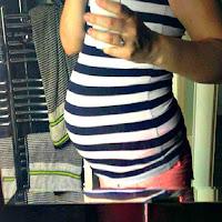 Pregnant bump selfie