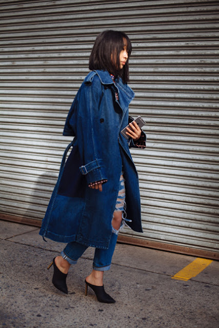 all denim, denim on denim, margaret zhang, mules, fall 2016, street style, spring 2016, trends, fashion week, NYFW, PFW, LFW, new york fashion week, paris fashion week, london fashion week