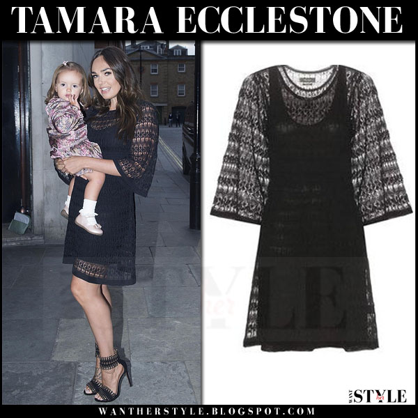 Tamara Ecclestone in black crochet isabel marant agate mini dress and black alaia grommet sandals what she wore