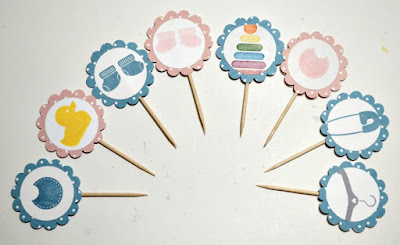 Tuesday Tutorial, Something for Baby, Stampin' Up!, Stamp with Trude, cupcake picks, baby shower, craft ideas