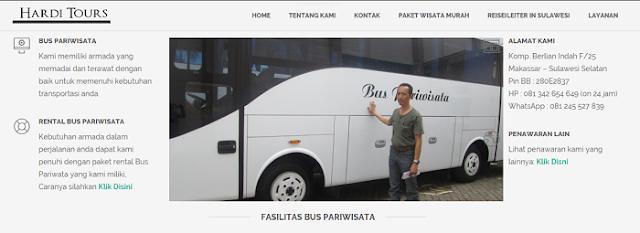 Website buspariwisatamakassar.co.id