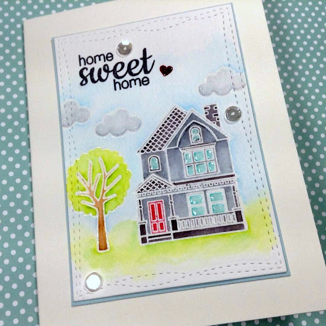 "Sunny Studio Stamps: Happy Home ""Home Sweet Home"" Watercolor Card by Laurie C. (@crazycardlady on instagram)"