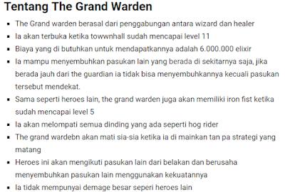 Grand Warden Biaya Dan Lama Upgrade