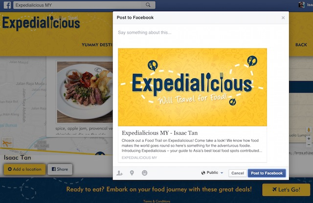 Share your Expedialicious food trail on FB after you have created it