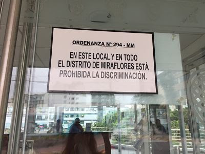 Prohibida la discriminación en Miraflores