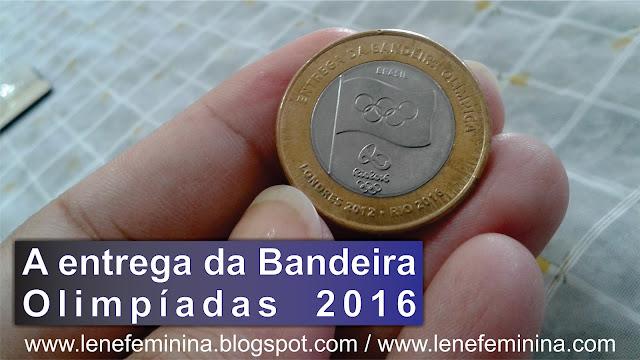 Moeda Comemorativa de 1 Real Entrega da Bandeira Olimpíada 2016