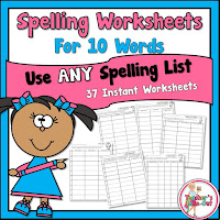 Spelling Worksheets using 10 Words