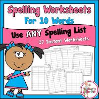 Spelling Worksheets using 10 Words